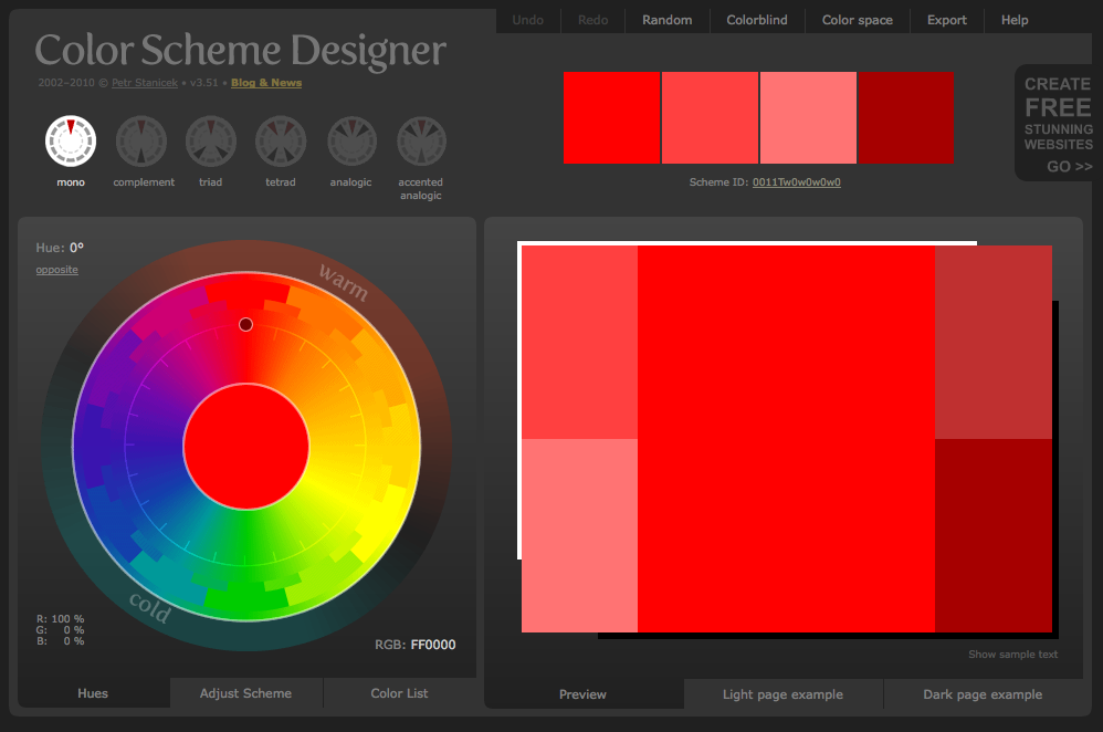 Color Scheme Designer Tools For Designers