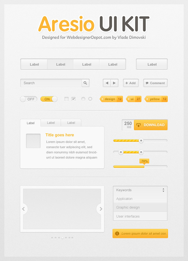Aresio Free Photoshop UI Kit