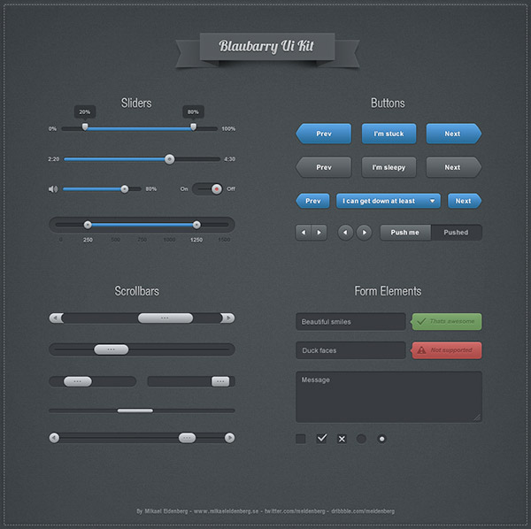Blaubarry Free Photoshop UI Kit