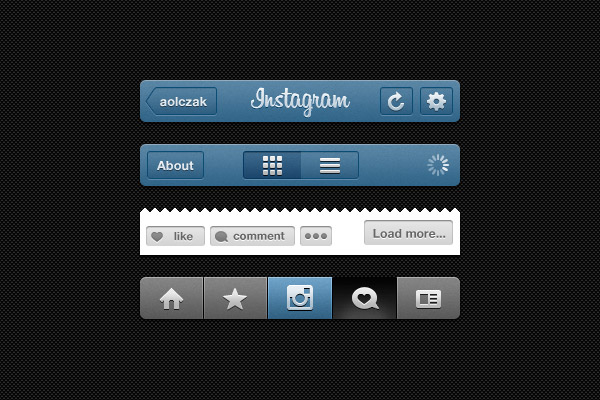 Instagram Free Photoshop UI Kit