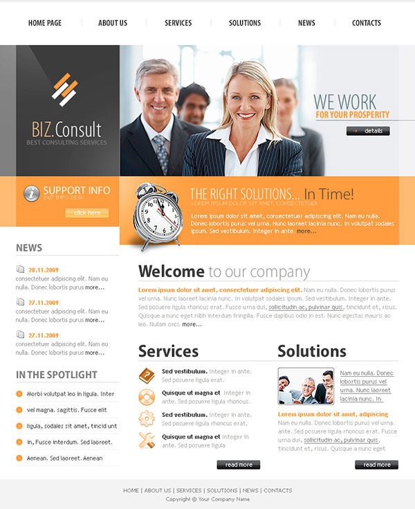 biz-consult - Free Photoshop Website Templates