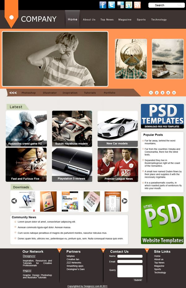 company - Free Photoshop Website Templates
