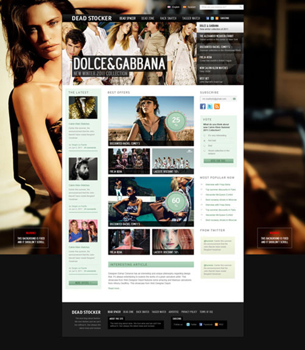 dolcegabana - Free Photoshop Website Templates