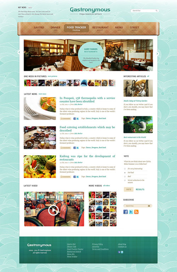 gastronymous - Free Photoshop Website Templates