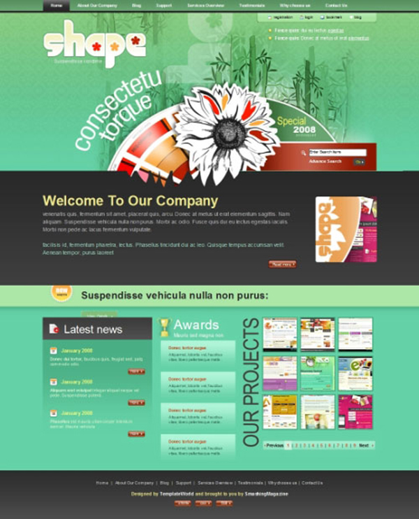 shape - Free Photoshop Website Templates