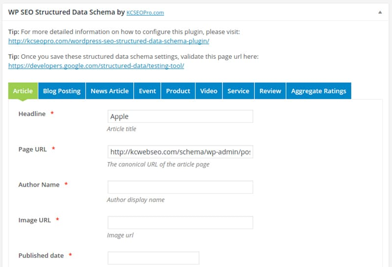 structured data schema markup plugin