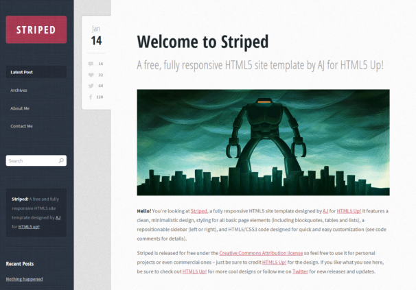Free HTML5 Website Template of the Week: Striped | Creative Beacon