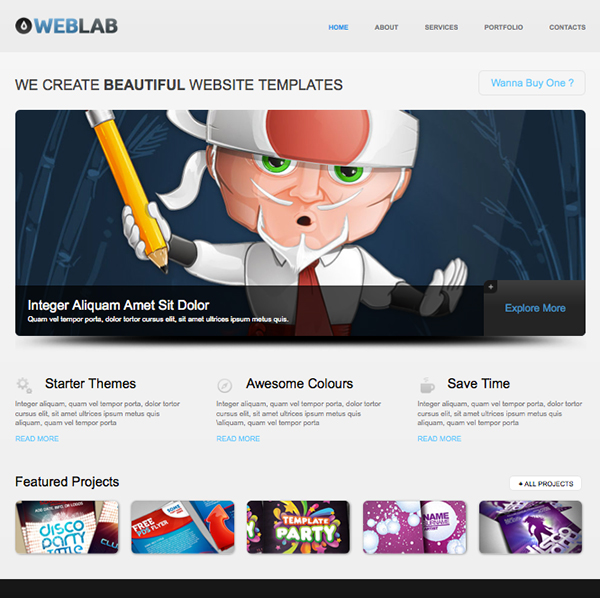 Free html5 website template of the week weblab creative for Free website templates html5