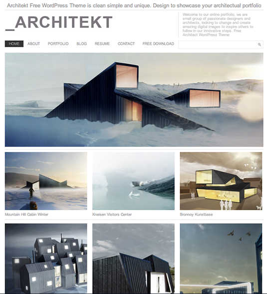 Architekt: Free Responsive WordPress Portfolio Themes