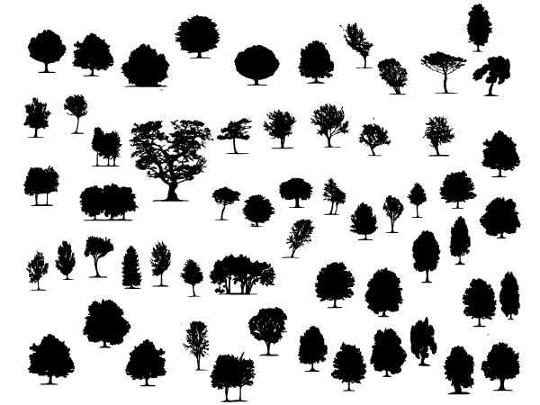 Free Trees and Foliage Vector Shapes 04