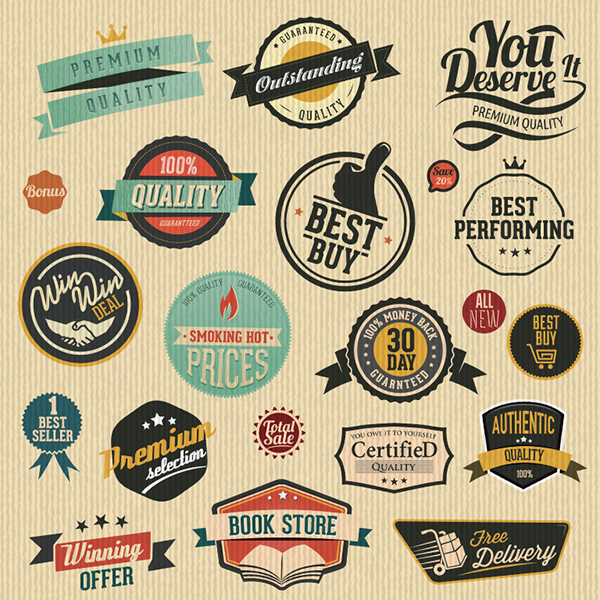 Vector Vintage Label Sets 2
