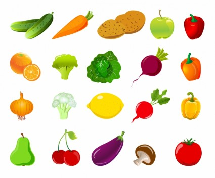 fruit and vegetable vector shapes 1