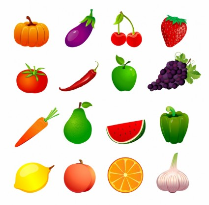 fruit and vegetable vector shapes 2