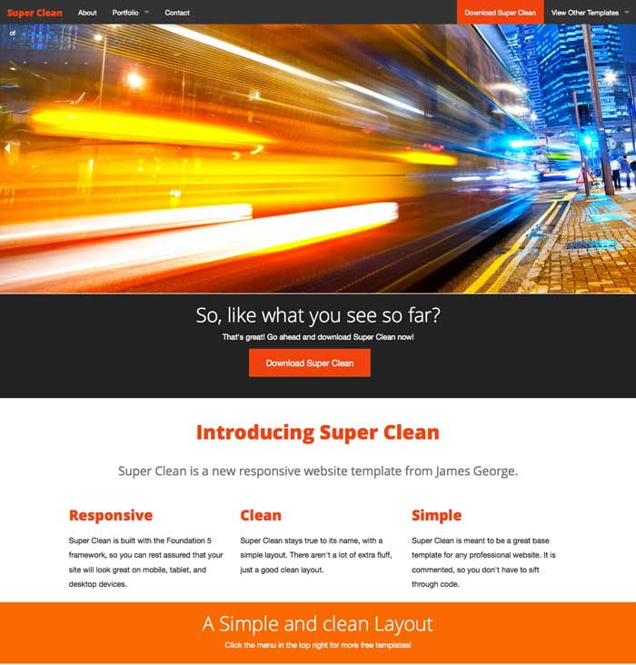 Superclean Free Responsive Website Template