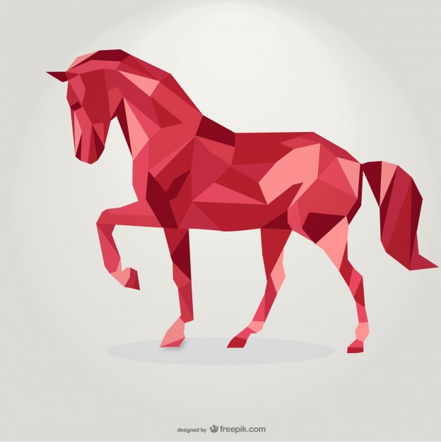 Vector Animal Designs: Trotting Geometric Horse