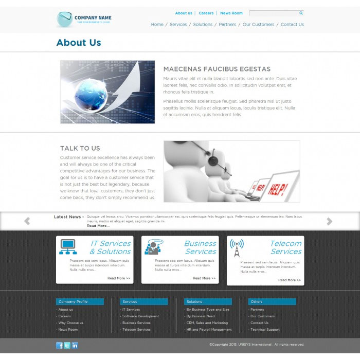 Free Bootstrap Corporate Theme: About Us