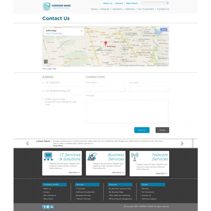 Free Bootstrap Corporate Theme: Contact