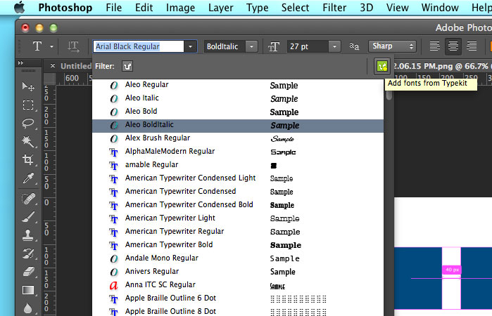 New Features of Photoshop CC 2014: Typekit in Photoshop