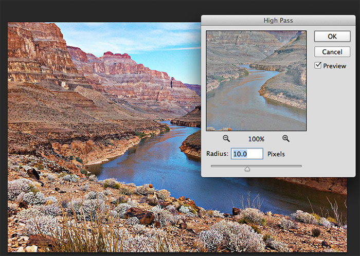 Sharpen Images Using the High Pass Filter