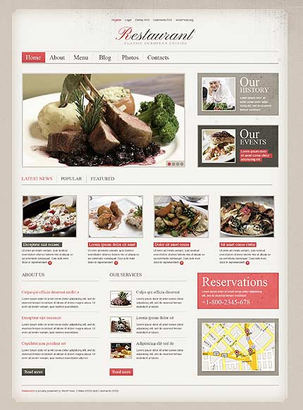 Cherry Café and Restaurant WordPress Theme
