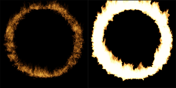 rendering flames in Photoshop - opacity