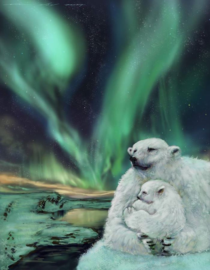 polar-bear-northern-lights