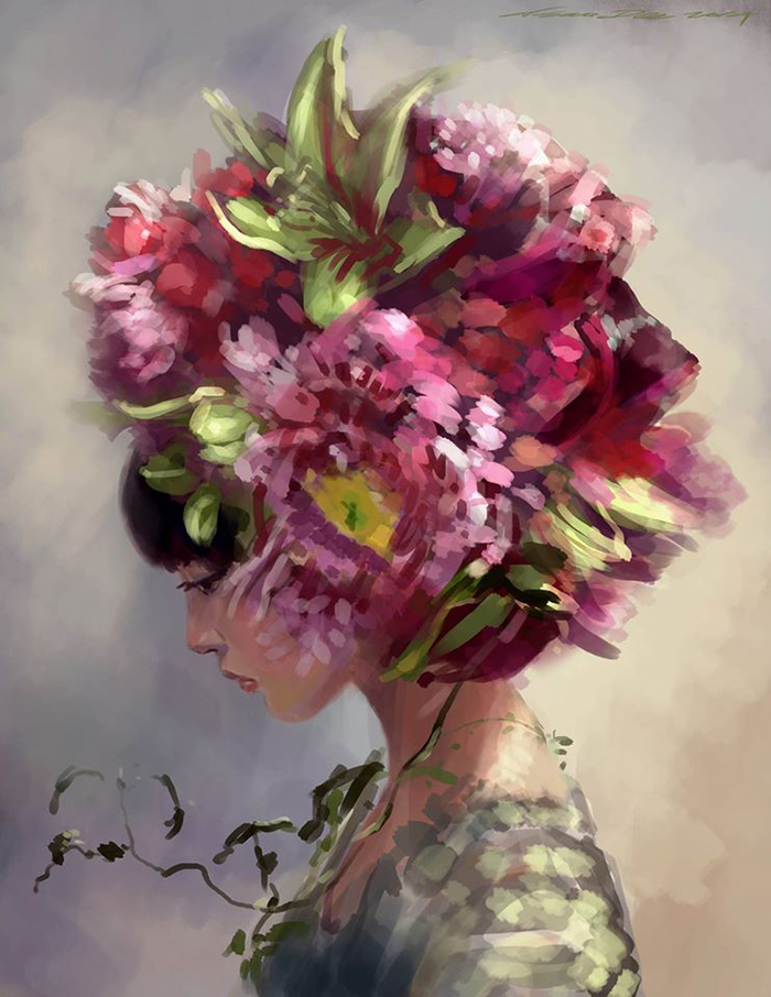 woman flower hat