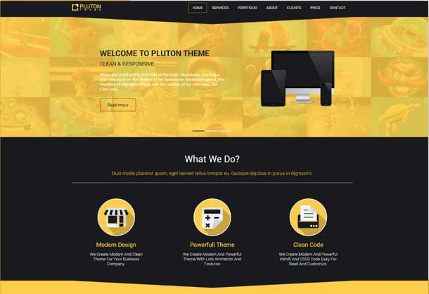 Pluton free website template Top