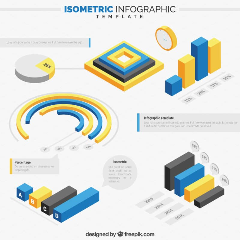 Free Isometric Infographics Pack 1