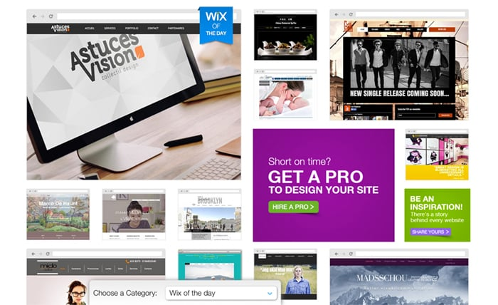 Wix WYSIWYG website builder inspiration