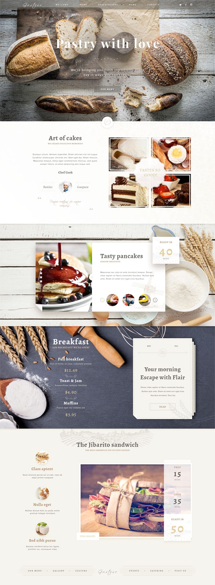Bakery Photoshop website template