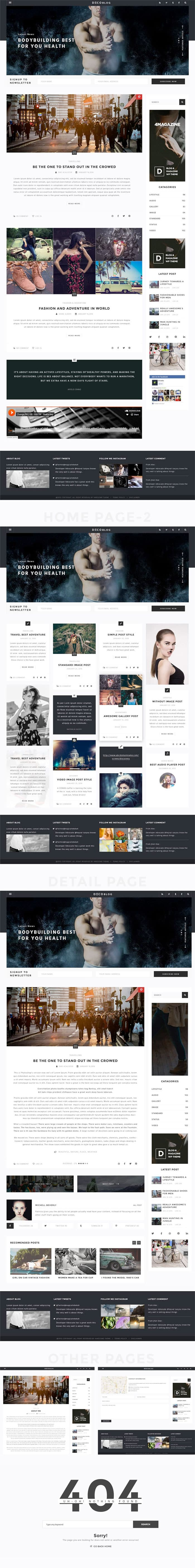 Personal blog Photoshop website template
