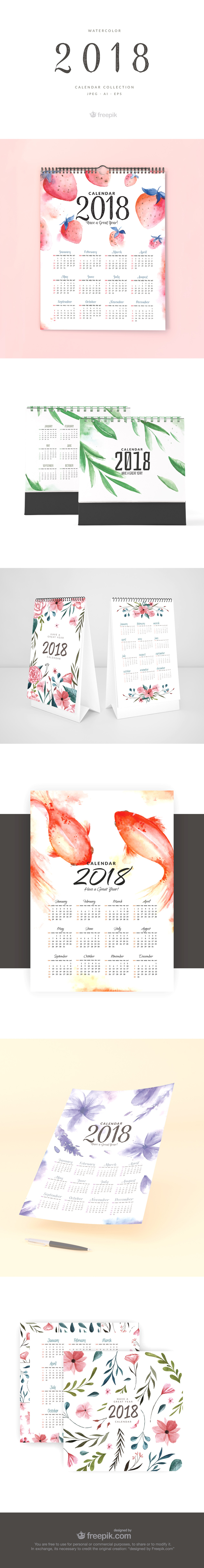 watercolor 2018 calendar template