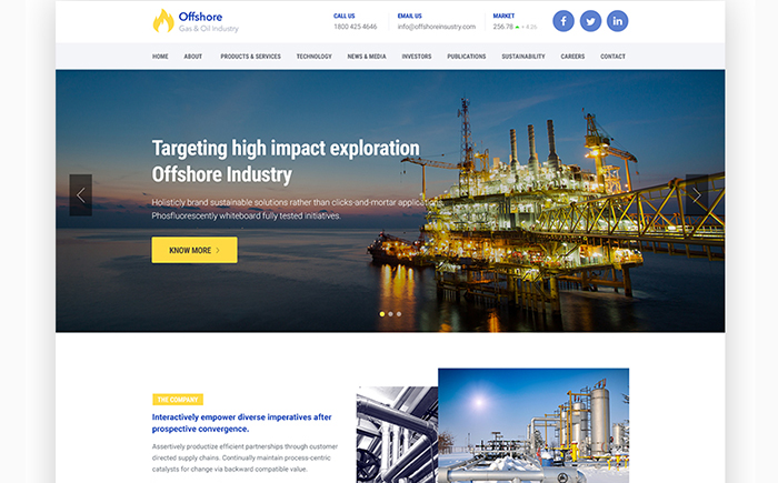 Offshore Industrial Business Responsive WordPress Theme