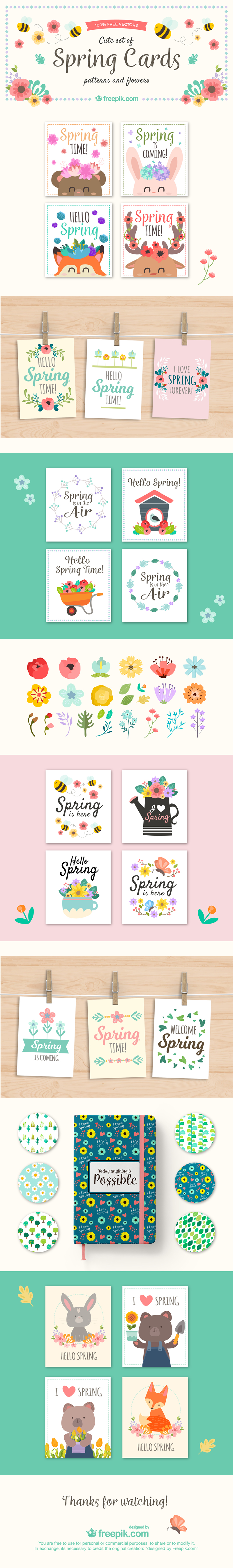 Spring cards designed in bvector formats
