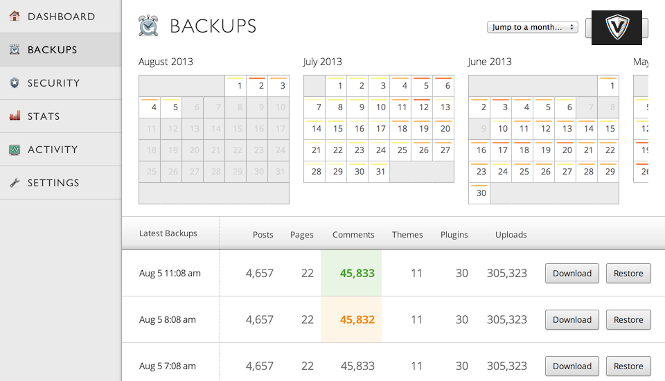 Vaultpress WordPress back up plugin