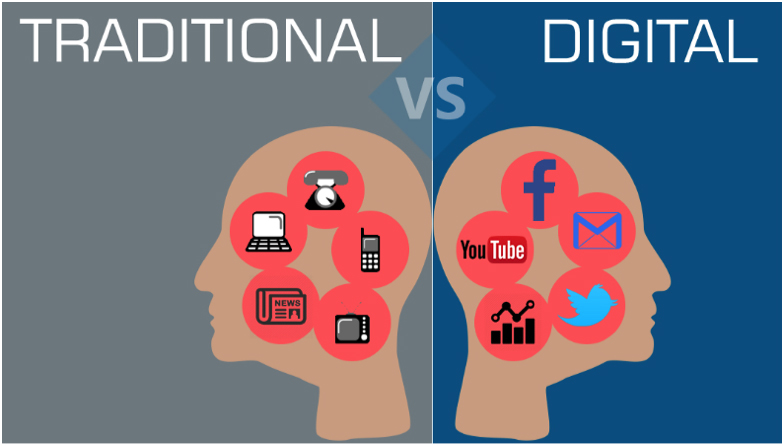 traditional vs digital infographic